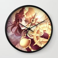 league of legends Wall Clocks featuring League of legends Leona by Rikku Hanari