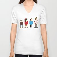 seinfeld V-neck T-shirts featuring Pixel Seinfeld by Vectorific Design