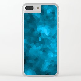 Blue abstract polygonal background Clear iPhone Case