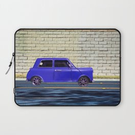 blue classic car on the road with brick wall background Laptop Sleeve