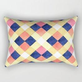 Colorful pink yellow navy blue watercolor geometrical pattern Rectangular Pillow
