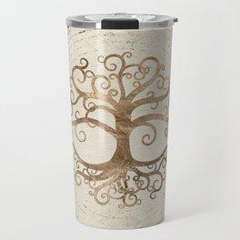 Tree of life Pastel Gold on Canvas Travel Mug