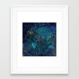 Star Map :: City Lights Framed Art Print
