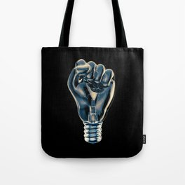 Protest fist light bulb / 3D render of glass light bulb in the form of clenched fist Tote Bag