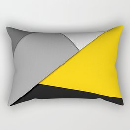 Simple Modern Gray Yellow and Black Geometric Rectangular Pillow
