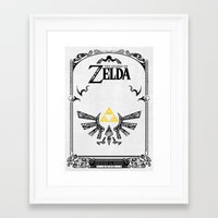 legend of zelda Framed Art Prints featuring Zelda legend - Hyrulian Emblem by Art & Be
