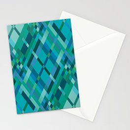 Blue Green Harlequin Pattern Stationery Cards