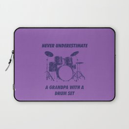 Never Underestimate A Grandpa With A Drum Set Funny Drums Vintage Drummer Distressed Laptop Sleeve