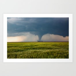 Behind the Scene - Large Tornado Passes Safely Behind a Farmhouse in Kansas Art Print