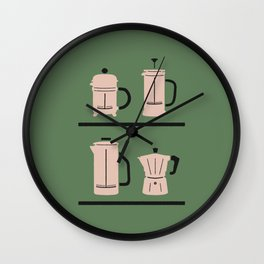 Volturno & French Press Coffee #4 opaque green & vintage pink Wall Clock