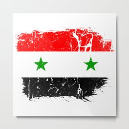 Distressed Syrian Arab Republic Flag Graffiti Metal Print