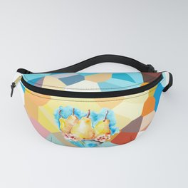 Ripe pears fruit in blue vase drawing by watercolor Fanny Pack
