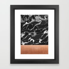 Black marble and pink copper Framed Art Print