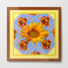 Coffee Brown Design Yellow-Baby Blue Sun Flowers Art Metal Print