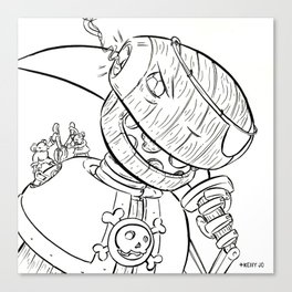 Robot Pirate - ink Canvas Print