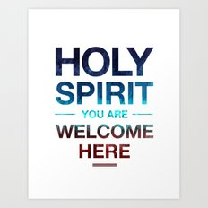 Holy Spirit: Blue Cyan Red Art Print
