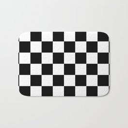 Black & White Checkered Pattern Bath Mat