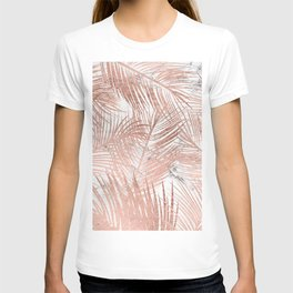 Tropical modern faux rose gold palm tree leaf white marble pattern T-shirt