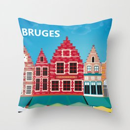 Bruges, Belgium - Skyline Illustration by Loose Petals Throw Pillow
