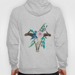 Bohemian bull skull and antlers with flowers Hoody