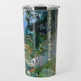 Wilderness Landscape, Wild Foxglove Flowers, White Birch, Stream & Cattle by Nikolai Astrup Travel Mug