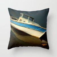 boat Throw Pillows featuring boat by habish
