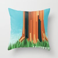 california Throw Pillows featuring California by AtomicChild