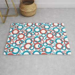 Blue Green, Red, White Geometric Ring Pattern 2021 Color of the Year AI Aqua 098-59-30 Rug