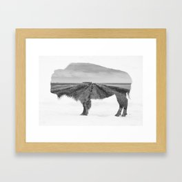 Bison and Prairie Road Blend BW Framed Art Print