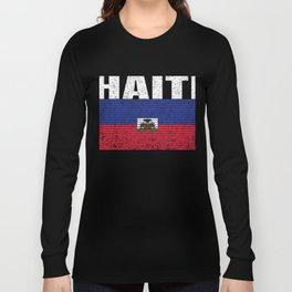 Haiti Country Vintage Haitian National Flag Gift Long Sleeve T-shirt
