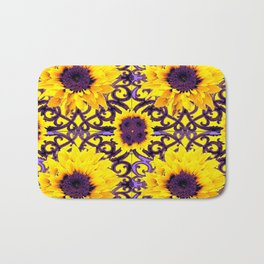 Sunflowers Multi-Floral Purple Pattern Art Bath Mat