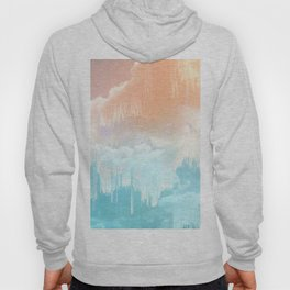 Frozen Sky Glitch - Icy blue & peach #glitchart #decor Hoody