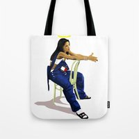 aaliyah Tote Bags featuring Aaliyah by MikeHanz