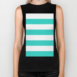 Wide Horizontal Stripes - White and Turquoise Biker Tank