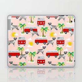 Schnauzer mini van hippie van palm tree tropical summer dog breed pattern Laptop & iPad Skin