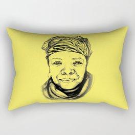 Maya Angelou - (yellow) Sketch to Digital Rectangular Pillow
