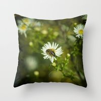 bee Throw Pillows featuring Bee  by Rob Hawkins Photography