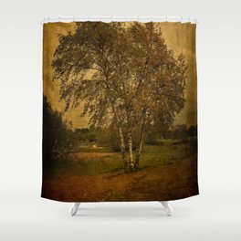 A Single Birch Tree Shower Curtain