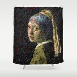 Girl With A Strawberry Earring Vegetable Decoupage Shower Curtain