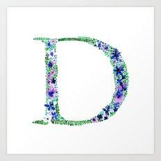 Floral Monogram Letter D Art Print