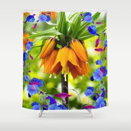 BLUE MORNING GLORIES ORANGE CROWN IMPERIAL Shower Curtain