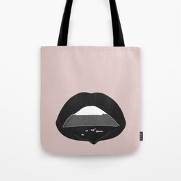 black dripping lips Tote Bag