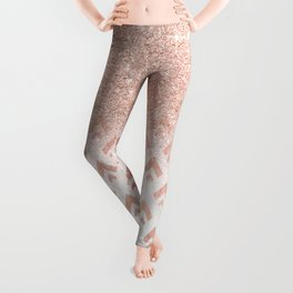 Faux rose gold glitter ombre rose gold foil triangles chevron geometric on white marble Leggings