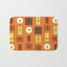 Atomic Age Simple Shapes Orange Brown Yellow Bath Mat