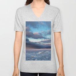 Storm Cloud Across Frozen Bay Unisex V-Neck