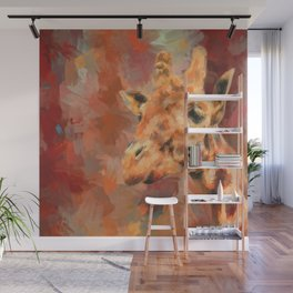 Long Necked Friend Giraffe Art Wall Mural