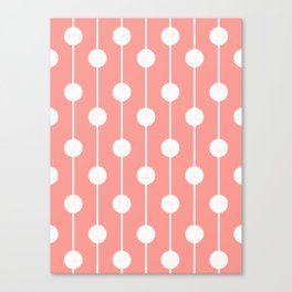 Pink Lined Polka Dot Canvas Print