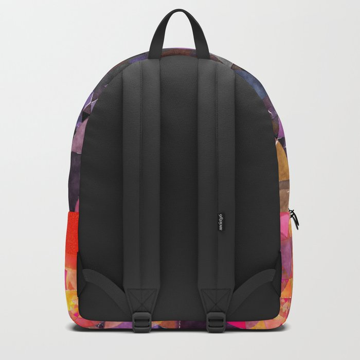 Fire red blue yellow  triangle pattern - Watercolor illustration Backpack
