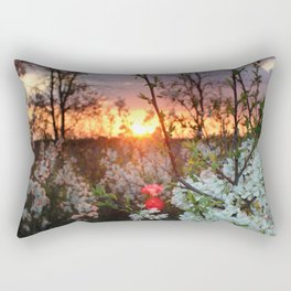 Spring Blossoms Sunset Rectangular Pillow
