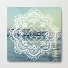 Mandala : Teal Sea Sunset Metal Print